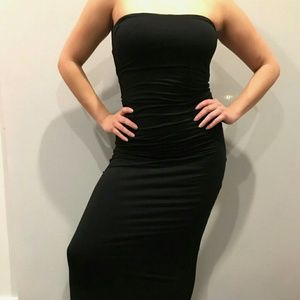 Black Fitted Strapless Dress, Size Small